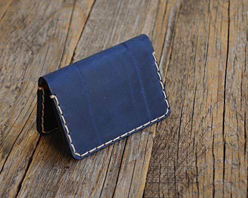 Azul cartera de piel. Apta para tarjeta de crédito, efectivo o carnet de identidad. Bolsa rústica unisex.