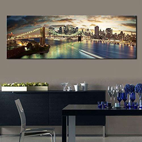 Manhattan New York Poster Brooklyn Bridge Skyline Night Lienzo Pintura Paisaje Urbano Imagen para Dormitorio Sala de Estar (sin Marco) R1 50x150CM