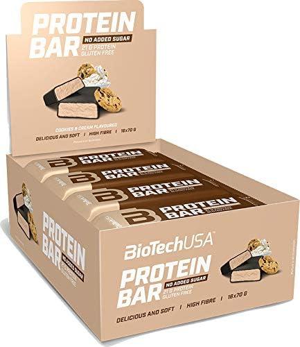 BioTechUSA Protein Bar - barrita de proteínas con alto contenido proteico, sin azúcar añadido, con proteína del suero y colágeno, 16 * 70 g, Cookies & ...