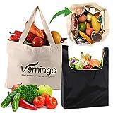 Bolsa de compras de algodón reutilizable, 2 bolsas de supermercado, bolsa de asas plegable de...