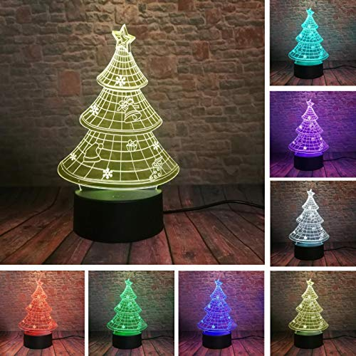 3D Beautiful Christmas Tree Night Light Led Optical Illusion Lamp 16 Color Change Table Desk Lamp for Living Room Kids Bedroom Home Decoration Birthday Christmas Holiday Gift Toys with Remote