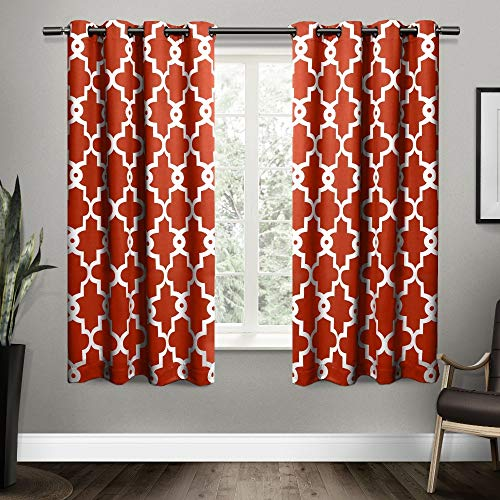 Exclusive Home Curtains Ironwork Sateen Woven Blackout Grommet Top Curtain Panel Pair, 52x63, Mecca Orange, 2 Count