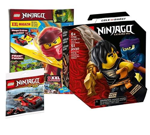 Collectix Lego 30536 Ninjago Legacy Battle - Juego de batalla, Cole vs. Geisterkämpfer 71733 + cuaderno Ninjago (póster XXL, rompecabezas, cómics), incluye bolsa de plástico