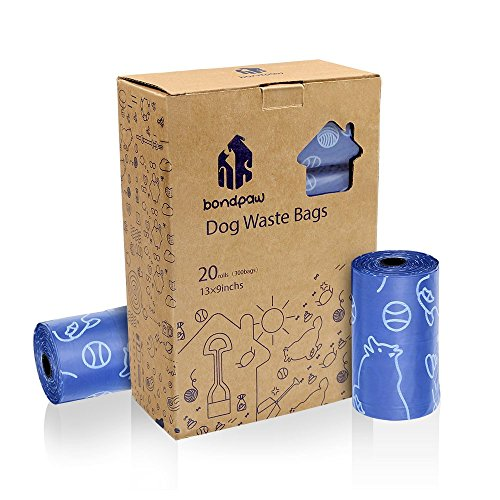 Bondpaw Dog Waste Bags,300 Dog Poop Bags Large and Thick for Pet Cleanup (20 Rolls / 300 Count)