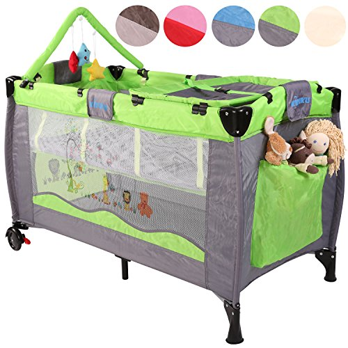 KIDUKU® Baby Bed Children's Travel Cot Folding Bed Sleeping Level Adjustable for Newborns, 6Colours, Easy assembly
