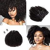 SAGA QUEEN Hair Mongolian Afro Kinky Curly Clip In Hair Extensions 8pcs 18clips 120g/bundle Mongolian Virgin Remy Human Hair (1 bundle 8inch, natural black)