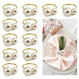 Kesote Set of 12 Pearl Napkin Rings, Gold Napkin Ring Holders for Formal or Casual Dinning Table Decor