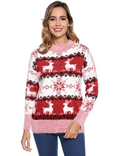 Hawiton Dames Kersttrui Sweater Lange Mouw Pullover Tops Gebreide Blouse Knitwear