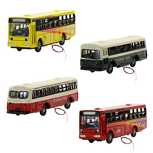 Evemodel 4 STK. Reise Busse Modell Auto mit Beleuchtung Spur N 12V NEU EBS15002-4-EU