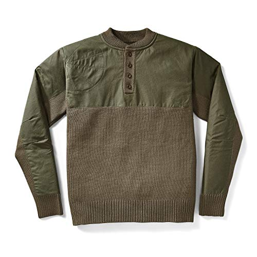 Filson Men's Henley Guide Sweater - Peat Green - Large