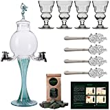 Absinthe Accessory Set Green Fairy | 1x Absinthe Fountain | 4x Absinthe Glasses | 4x Absinthe Spoons | 1x Absinthe Sugar Cubes - Drink Absinthe the traditional way!