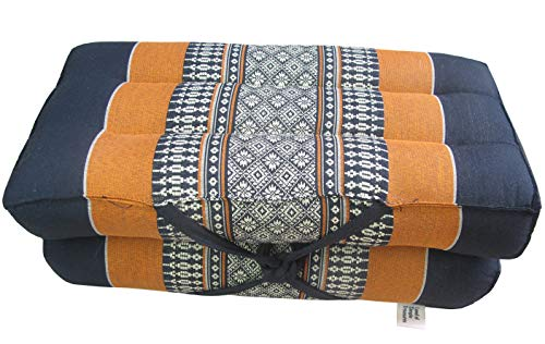 Land of Simple Treasures Foldable Meditation Cushion - Extra Firm Yoga Block Pillow - All Natural Thai Kapok Fiber Filling - Convertible Floor, Chair Seat (Daisy Cinnamon)