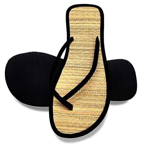 Schwarz Flip Flops Damen Bambus Hausschuhe Frauen Zehentrenner Sommer Pantoletten Sandalen Natural-Style Pantoffeln (Numeric_38)