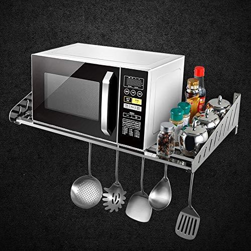 Liuxiaomiao Keuken magnetron plank Wandmontage 304 Roestvrij Staal Magnetron Oven Rack Keuken Plank Opslagrekken Wandplank Voor keuken badkamers, enz