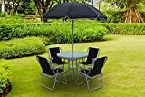 Esterno Living 4 or 6 Seat Textoline Bistro Garden Furniture Glass Dining Set with Parasol Round Rectangle (4 Seater Dining Set)