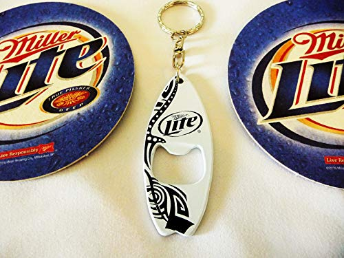 Miller Lite Surfboard Keychain/Bottle Opener and Coaster Set