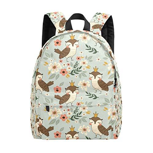 Kid's Backpacks Owl Illustration Flowers Rucksack Cute Student School Book Bags