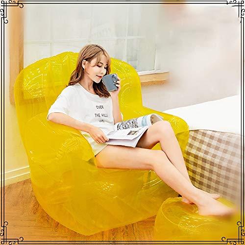 LF-chair Outdoor Indoor Aufblasbares Sofa Transparent Faules Sofa Freizeit Familie Garten Aufblasbarer Strandkorb Geeignet Für Sommer Pool Lounge Strand Camping (Color : Yellow)
