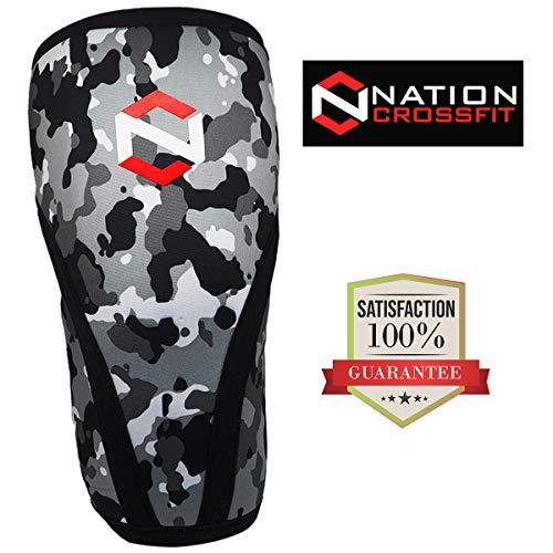Knieschoner (x2) für Männer und Frauen aus Neopren 7 mm dick für eine Bandage Kniescheibe für Gewichtheben, Crossfit, Krafttraining, Volleyball, Grip, Camouflage, L