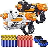 POKONBOY 2 Pack Blaster Gun Toy Guns, Soft Foam Dart Blaster Compatible with Nerf Guns with 2 Wristbands and 80 Pcs Soft Foam Darts Christmas Birthday Gift for 6+ Years Boys Girls Teens
