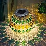 TERESA'S COLLECTIONS Mosaik Solarleuchte für Außen Sphärische Glas LED Tischlampe 15.3cm Wasserdichte Solarlampe RGB Farbwechsel Gartendeko für Balkon Terrasse Hof Gelb Grün MEHRWEG Verpackung