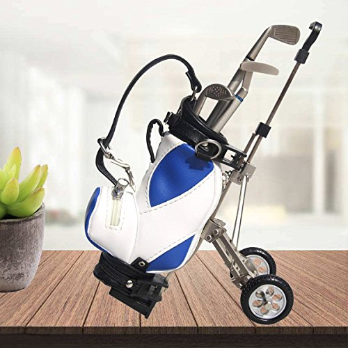 Hanker Colorful Golf Cart Geschenk Set Golf Bag Golf Stiftehalter, Gadget Desktop Golftasche und Stift Geschenk Set für fatherday, Set 1Stück, Silberfarben/Schwarz