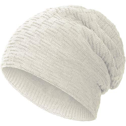 Compagno Beanie Gorro de invierno de punto cesta con suave interior de forro polar, Color:Crema