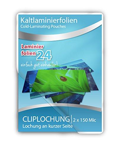 XLam Kaltlaminierfolien 74 x 105 mm - 2 x 150 Mic, glänzend, mit Clip-Lochung an der kurzen Seite - 10 Stück - zum laminieren ohne Laminiergerät