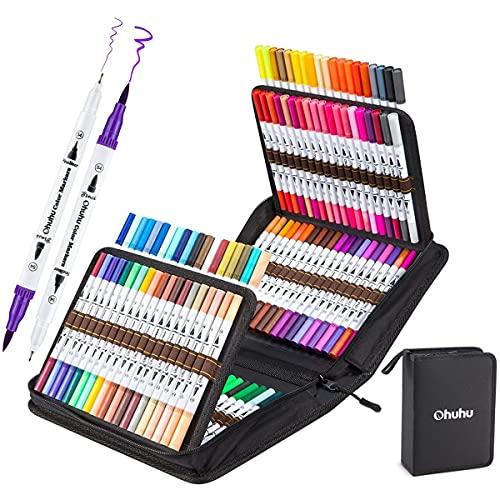 Filzstifte Pinselstifte 120 Farben, Ohuhu Dual Brush Pen Set, Handlettering Stifte Brush Pen Doppelfasermaler Pinselstifte für Kalligraphie Zeichnung Manga Malbuch Stifte
