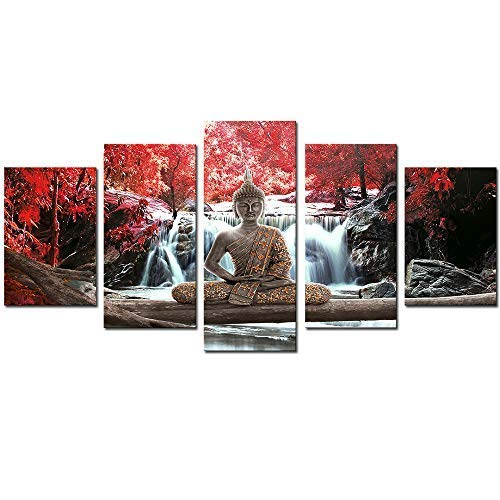 AWLXPHY Decor-Buddha Wall Art Canvas Waterfall Painting Framed 5 Panels for Living Room Decoration Modern Landscape Buddha Trees Zen Wall Art Giclee (Red, 40'x20')
