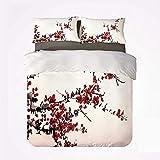 Arte Elegancia Flor de cerezo Sakura Ramas de árbol Pintura de tinta Estilizada Patrón japonés decorativo,Juego de ropa de cama con funda nórdica de microfibra y 2 funda de almohada - 200 x 200 cm