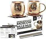 Moscow Mule Becher Geschenk Set - 2 Kupfertassen - 2 Untersetzer - 2 Trinkhalme - 1 Reinigungsbürste - 2 Cocktail Rezeptkarten - 450ml - TÜV geprüft - 100% Kupfer - keine Beschichtung - Handarbeit