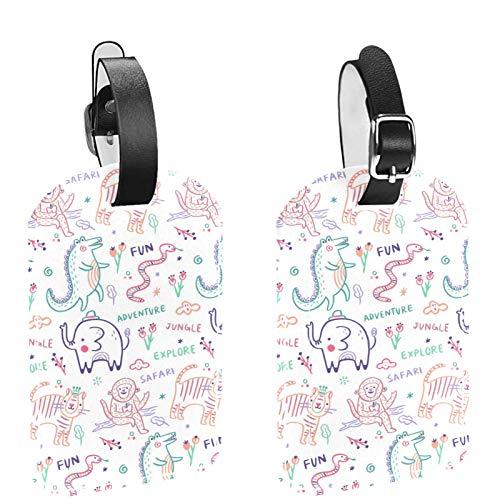 2 paquetes de etiquetas flexibles para equipaje de viaje para bolsas de equipaje, maletas, bolsas escolares – etiquetas de identificación de nombre para viajes, colorido patrón de animales