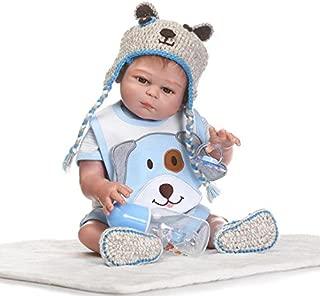 Seedollia Full Silicone Body Life Like Reborn Baby Doll Boy 20 inch Blue Outfit Cute Dog