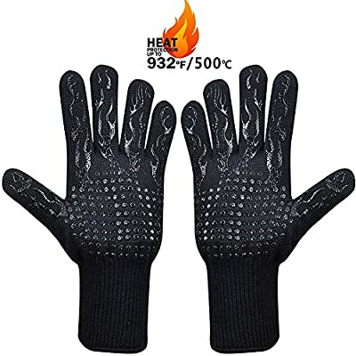 MojiDecor Grillhandschuhe – hitzebeständig bis zu 500°C, 1 Paar BBQ Handschuhe Ofenhandschuhe Silikon rutschfeste Kochenhandschuhe Backhandschuhe, Extra Lang Zum Grillen, Kochen, Backen, Feuerplatz