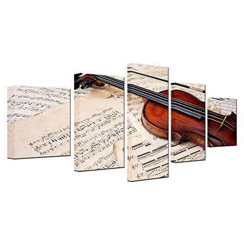 YANGMAN Canvas Art Music Notities Viool Beeld op Canvas Wall Art Decor Viool Jazz Band Leraar Lessen Blad Muziek Muurdecoratie Foto's voor Home Decor Gift,5 Stuks