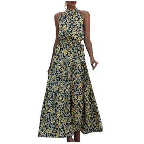 Evansamp Damenkleid, Sommerkleid, Punkt- und Blumenmuster, Boho-Stil, lang, Abendkleid, Party, Strandkleid, Sommerkleid Gr. Small, gelb