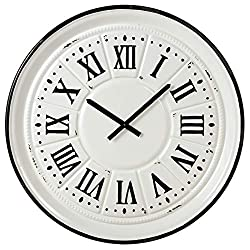 Midwest CBK Black & White Enamelware Wall Clock with Black Roman Numerals.