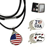 Golf Ball Marker Necklace for Womens with Magnetic Hat Clip Crystal Bling Deluxe Gift Box, Premium Gifts Ideas Birthday Christmas Removable for Men Lady Golfer (Style 2-USA Flag&I Love USA&Faith)