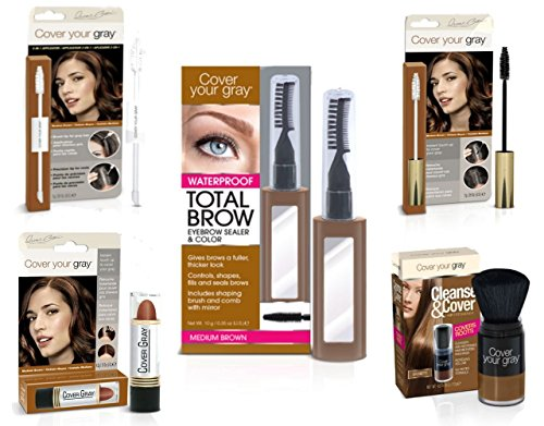 Cover Your Roots Head & Brow Gray Coverage 5 Piece Set - Medium Brown
