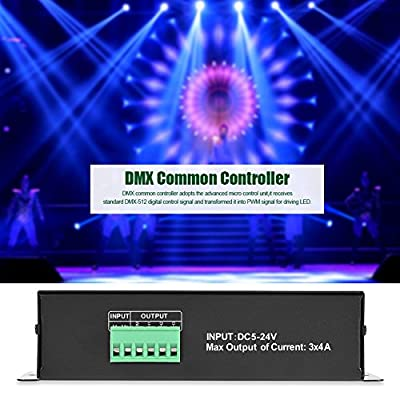 DMX Controller, 5V~24VDC DMX 512 4A 3 Channels Decoder Module Controller for LED RGB Lamp Stage Light Fixtures