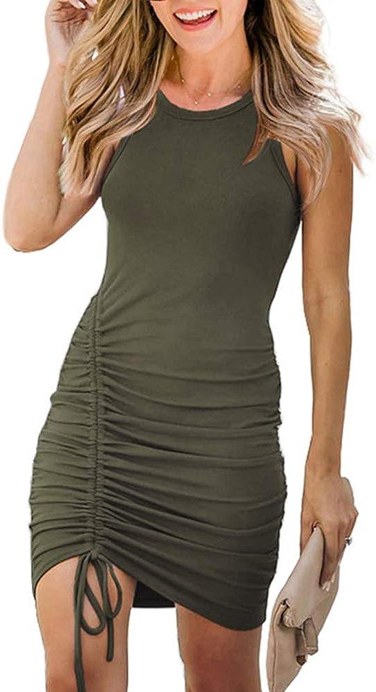 Glamaker Women's Casual Sleeveless Bodycon Mini Dress Drawstring Side Ruched Slim Tank Dresses