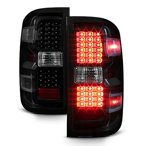 ACANII - For [Non-LED Model] 2014-2018 Chevy Silverado 1500 2500 3500 Black Smoked LED Tail Lights Lamps Pair Left+Right