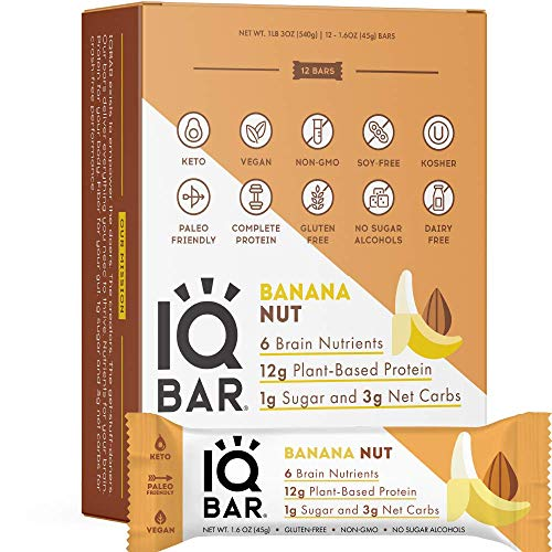 IQBAR Brain and Body Keto Protein Bars - Banana Nut Keto Bars - 12-Count Energy Bars - Low Carb Protein Bars - High Fiber Vegan Bars and Low Sugar Meal Replacement Bars - Vegan Snacks