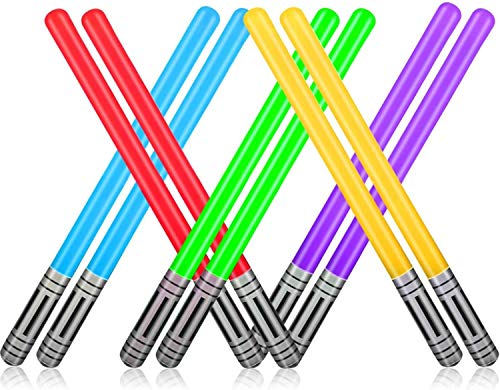Boyigog Spada luminosa gonfiabile Star Wars in generale, 10 pezzi, palloncini, spada gonfiabile, 75 cm, protezione ambientale in PVC 0,16 mm, 5 spade laser per feste