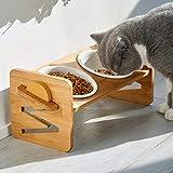 VODESON Gamelle surélevée pour chats et petits chiens, réglable avec 2 bols en céramique et pieds antidérapants