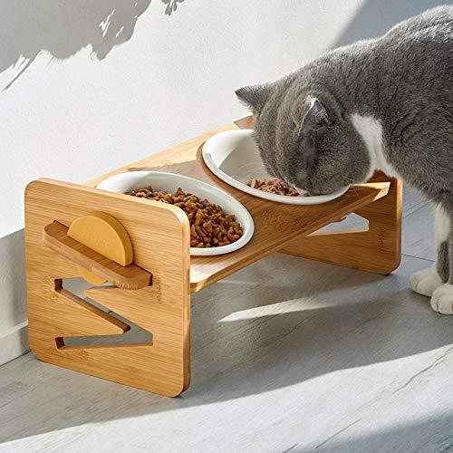 VODESON - Cuenco elevado para mascotas para gatos y perros pequeños, ajustable elevado, alimentador de alimentos y agua con 2 cuencos de cerámica y pies antideslizantes