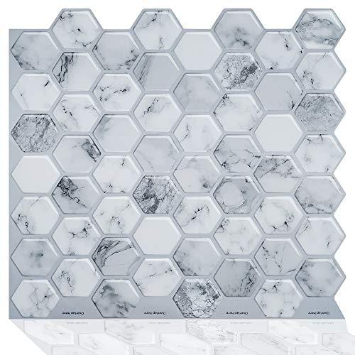 ZXF Pegatinas de baldosas, 4pcs Cocina autoadhesiva Mosaico Mosaico calcomanía de Metro Peel and Stick Backsplash Pegatinas de Azulejos de Vinilo