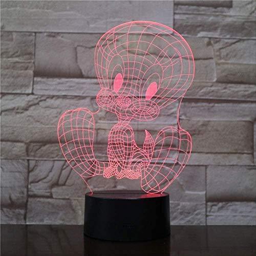Lámpara de escritorio de mesa de ilusión óptica 3D personaje de dibujos animados bird7 colores de luz para la decoración del hogar Pantalla óptica increíble cumpleaños para niños re-16 colors remote