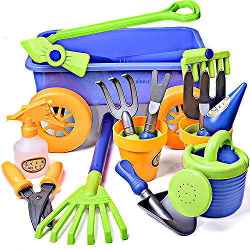 Dimple DCN12752 Garden Wagon & Tools Toy Set Premium 15Piece Gardening Tools & Wagon Toy Set Sturdy & Durable-Top Yd, Beach, Sand, Garden Toy-Great for Kids & Toddlers, Multicolor